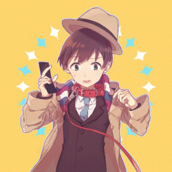 1boy akadaidai blue_necktie brown_eyes brown_hair cellphone collar confused flip_phone leash looking_down male_focus matching_hair/eyes moritsuka_shun necktie occultic;nine open_mouth oversized_clothes phone simple_background solo suit_jacket sweatdrop trench_coat upper_body yellow_background rating:Safe score:1 user:danbooru