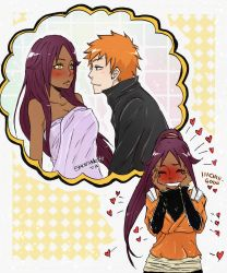 1boy 1girl bleach blush dreaming drooling heart kurosaki_ichigo naked_towel orange_hair purple_hair shihouin_yoruichi tagme thought_bubble towel yellow_eyes