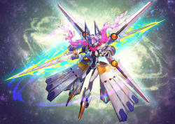 artoria_pendragon_(all) commentary_request fate/grand_order fate_(series) flying glowing glowing_eyes highres mecha mecha_musume mecha_on_girl mechanical_arm mechanical_boots mechanical_legs mechanical_parts mechanical_skirt mechanical_wings mysterious_heroine_xx_(foreigner) nkmr8 pink_scarf pointy_boots rhongomyniad scarf solo weapon wings