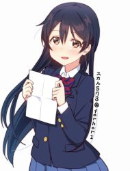 1girl artist_name bangs blue_hair blush bow bowtie commentary_request hair_between_eyes holding holding_paper long_hair long_sleeves looking_at_viewer love_live! love_live!_school_idol_project open_mouth otonokizaka_school_uniform paper red_neckwear school_uniform shirt simple_background skull573 smile solo sonoda_umi striped_neckwear twitter_username white_background white_shirt yellow_eyes rating:Safe score:2 user:danbooru