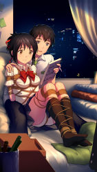 1boy 1girl bangs bdsm black_hair black_legwear black_pants black_skirt blue_eyes bondage bound bow bowtie breasts brown_eyes collared_shirt couple crotch_rope cup curtains desk hair_ribbon happy hetero highres indoors kimi_no_na_wa kneehighs knees_up legs legs_apart legs_together mechanical_pencil medium_breasts miyamizu_mitsuha notebook on_bed open_mouth panties pants pencil pillow pleated_skirt post-it red_bow red_bowtie red_ribbon ribbon shibari shibari_over_clothes shirt short_hair short_sleeves sitting skirt skyline smile soles tachibana_taki thighs tokinohimitsu twitter_username underwear weibo_username white_panties white_shirt window rating:Questionable score:27 user:danbooru