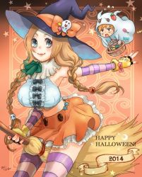 1boy 1girl 2014 between_legs bleach broom brown_hair candy fingerless_gloves ghost gloves grey_eyes halloween hat inoue_orihime kurosaki_ichigo long_hair meitarou_(3079995) nail_polish orange_nails pink_legwear purple_legwear skirt smile striped striped_legwear thighhighs twin_braids witch witch_hat