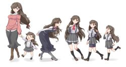 2girls ^_^ age_progression ajino_(sakanahen) arashio_(kantai_collection) arm_warmers bike_shorts boots brown_eyes brown_hair commentary_request dress eyes_closed kantai_collection kneehighs long_hair looking_back looking_to_the_side mother_and_daughter multiple_girls older pleated_skirt remodel_(kantai_collection) ribbon school_uniform serafuku shirt shoes skirt smile suspenders younger rating:Safe score:2 user:danbooru