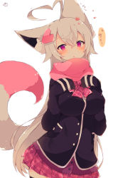 1girl :o ahoge animal_ear_fluff animal_ears bangs black_jacket black_legwear blazer blush breasts cardigan commentary_request eyebrows_visible_through_hair flower fox_ears fox_girl fox_tail grey_hair hair_between_eyes hair_flower hair_ornament hands_up heart heart_ahoge heart_hair_ornament highres jacket large_breasts long_hair long_sleeves looking_at_viewer muuran original parted_lips petals pink_skirt plaid plaid_skirt pleated_skirt purple_cardigan purple_eyes red_flower signature simple_background skirt sleeves_past_fingers sleeves_past_wrists solo tail tail_raised thighhighs translation_request very_long_hair white_background rating:Safe score:0 user:danbooru