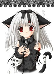1girl animal_ears cat_ears cat_tail collar gothic leash nekoneko red_eyes ribbon solo tail tail_ribbon white_hair rating:Questionable score:3 user:danbooru
