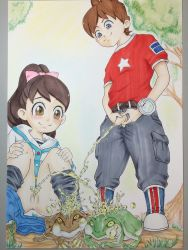 10s 1boy 1girl absurdres amano_keita anus artist_request frog highres kodama_fumika little_penis loli outdoors peeing penis ponytail pussy shota smile squatting standing uncensored what youkai_watch rating:Explicit score:52 user:narcopolis