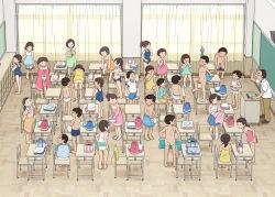 6+boys 6+girls brown_hair classroom kiyo_(kyokyo1220) multiple_boys multiple_girls nude one-piece_swimsuit original panties penis school school_swimsuit swimsuit underwear undressing white_panties rating:Explicit score:12 user:Gaudy