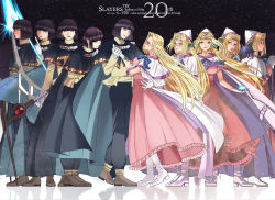 10s 1997 2016 5boys 5girls 90s anniversary black_hair black_pants blonde_hair blue_bow blue_eyes boots bow brown_shoes cape circlet copyright_name dress filia_ul_copt frills full_body gloves hat highres long_hair lyxu multiple_boys multiple_girls multiple_persona one_eye_closed pants pink_dress shoes slayers slayers_try spiked_mace staff standing white_boots white_gloves white_hat xelloss