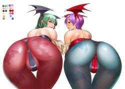 2girls anus ass back bat_wings bent_over bodysuit capcom cosine demon_wings feathers from_behind green_hair head_wings huge_ass leotard lilith_aensland long_hair looking_at_viewer looking_back morrigan_aensland multiple_girls pantyhose partially_visible_vulva purple_hair red_eyes short_hair siblings sisters smile thong vampire_(game) wings rating:Questionable score:71 user:armorcrystal