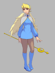 1girl angel_wings blonde_hair blue_eyes blue_footwear boots breasts breath_of_fire breath_of_fire_iv commentary_request dress earrings full_body hairband highres jewelry knee_boots looking_at_viewer nina_(breath_of_fire_iv) pantyhose short_hair simple_background skirt small_breasts solo staff standing tetsuya_mk2 weapon white_wings wings rating:Safe score:0 user:danbooru