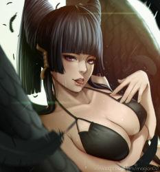 1girl bikini black_hair breasts cleavage dead_or_alive dead_or_alive_5 hair_ornament large_breasts magion02 nyotengu purple_eyes swimsuit tongue tongue_out wings