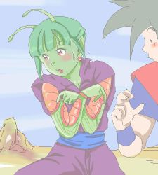1boy 1girl antennae blush dragon_ball earrings fang genderswap genderswap_(mtf) green_hair green_skin jewelry lowres oekaki piccolo red_eyes son_gokuu yozora rating:Safe score:9 user:danbooru
