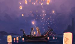 1boy 1girl blonde_hair boat braid brown_hair castle commentary_request disney dress facing_away feet_out_of_frame floating flower flynn_rider from_behind glowing gori_matsu hair_flower hair_ornament holding holding_oar lantern long_hair long_sleeves looking_up night night_sky oar outdoors outstretched_arm profile purple_dress rapunzel_(disney) reflection shirt short_hair sitting sky sky_lantern standing tangled very_long_hair waistcoat water watercraft white_shirt