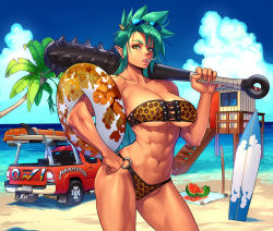 1girl abs animal_print bandeau beach bikini breasts candy cloud club day female food fruit glasses green_eyes green_hair ground_vehicle hand_on_hip innertube kanabou kanabō large_breasts leopard_print lollipop matching_hair/eyes monster_girl motor_vehicle muscle muscular_female navel ogami oni oni_horns original palm_tree pointy_ears short_hair sky solo sunglasses surfboard swimsuit sword tree truck watermelon weapon wooden_sword rating:Safe score:55 user:railbreaker