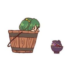 ._. 2girls bow bowl bowl_hat bucket chibi eye_contact green_hair hair_bobbles hair_bow hair_ornament hat in_bowl in_bucket in_container jpeg_artifacts kisume looking_at_another lowres minigirl multiple_girls peeking_out purple_hair simple_background sukuna_shinmyoumaru terajin touhou white_background wooden_bucket