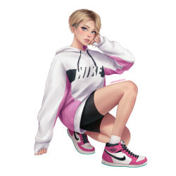 1girl artist_name asymmetrical_hair bike_shorts blonde_hair blue_eyes casual clothes_writing eyebrow_piercing gwen_stacy hood hoodie kneeling light_blush looking_at_viewer marvel nike parted_lips piercing shoes short_hair sidecut simple_background smile sneakers solo spider-man:_into_the_spider-verse spider-man_(series) umigraphics white_background white_hoodie