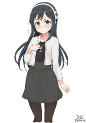 >:< 1girl asashio_(kantai_collection) black_hair blue_eyes blush casual closed_mouth cosplay dated hairband hand_on_own_chest haruna_(kantai_collection) haruna_(kantai_collection)_(cosplay) jacket jewelry kantai_collection long_hair nonono_(mino) pantyhose pendant simple_background solo white_background white_jacket