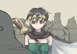 1girl breasts dragon_quest lowres mahito short_hair sword weapon