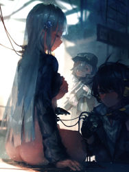 1boy 2girls aamond absurdres android ass assault_rifle bangs blue_eyes blunt_bangs blush blush_stickers bottomless breasts brown_eyes cable closed_mouth covering covering_breasts cube deele_(girls_frontline) detached_legs embarrassed eyebrows_visible_through_hair g11_(girls_frontline) girls_frontline gun hair_between_eyes hair_ornament hat headphones headset highres hk416_(girls_frontline) holding holding_screwdriver jacket jacket_lift large_breasts light_particles long_hair looking_at_viewer multiple_girls open_clothes parts_exposed rifle shirt silver_hair smile very_long_hair weapon