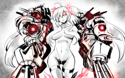 1girl ahoge breasts breasts_apart burning_hair_ties cannon crotch_plate gin'ichi_(akacia) glowing glowing_eyes hair_censor hair_over_one_eye head_tilt kantai_collection long_hair looking_at_viewer machinery mechanical_arms midriff navel no_panties red_eyes shinkaisei-kan sidelocks solo southern_ocean_war_hime teeth topless turret very_long_hair white_hair white_skin wide_hips