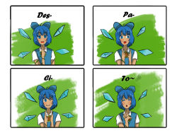 1girl blue_hair cirno comic despacito deviantartmossington english_text fairy highres ice ice_wings looking_at_viewer loss meme musical_note pegazora spoken_musical_note tan tanned_cirno touhou wings