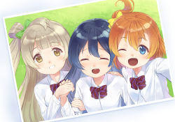 3girls bangs blue_eyes blue_hair blush bow bowtie commentary_request dress_shirt eichisu eyebrows_visible_through_hair green_bow grey_hair hair_between_eyes hair_bow hand_holding kousaka_honoka long_hair long_sleeves looking_at_viewer love_live! love_live!_school_idol_project minami_kotori multiple_girls one_eye_closed one_side_up open_mouth orange_hair otonokizaka_school_uniform red_neckwear school_uniform shirt smile sonoda_umi striped striped_neckwear white_shirt yellow_bow yellow_eyes