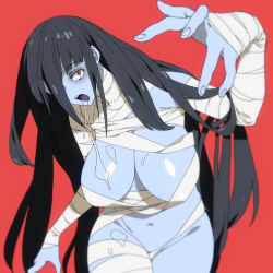 1girl bandage bandaged_arm bandaged_leg bandages black_hair blue_skin breasts commentary_request hair_between_eyes hair_over_one_eye highres large_breasts long_hair looking_at_viewer naked_bandage navel nude onsen_tamago_(hs_egg) open_mouth outstretched_arm red_background red_eyes saliva shiny shiny_hair shiny_skin simple_background solo yamada_tae zombie zombie_land_saga rating:Questionable score:11 user:danbooru
