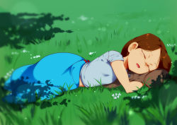 1girl :d absurdres blue_shirt blurry blurry_foreground brown_hair commentary day depth_of_field english_commentary eyes_closed facing_viewer grass highres jcm2 kit_(jcm2) long_hair lying on_grass on_ground on_side open_mouth original outdoors shirt short_sleeves sleeping smile solo rating:Safe score:5 user:danbooru