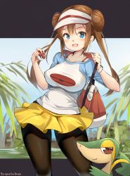 1girl :d aymusk bag bangs black_legwear blue_shirt blush bra_strap breasts closed_mouth commentary_request contrapposto creatures_(company) dress game_freak gen_5_pokemon highres holding holding_poke_ball impossible_clothes impossible_shirt large_breasts long_hair looking_at_viewer mei_(pokemon) miniskirt nintendo open_mouth outside_border pantyhose plant pleated_skirt poke_ball poke_ball_(generic) poke_ball_print pokemon pokemon_(creature) pokemon_(game) pokemon_bw2 print_shirt raglan_sleeves red_eyes shirt short_sleeves shoulder_bag sidelocks skirt smile smug snivy standing tareme twintails visor_cap white_headwear white_shirt yellow_skirt