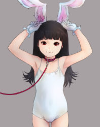 1girl animal_ears armpits arms_up bare_shoulders black_hair bunny_ears bunnysuit cameltoe closed_mouth collar collarbone cowboy_shot fake_animal_ears female flat_chest gekkou_(geccomajin) gloves leash leotard loli long_hair looking_at_viewer one-piece_swimsuit original red_eyes simple_background smile solo standing swimsuit rating:Questionable score:32 user:Domestic_Importer