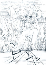 1girl animal_ears artist_request blush breasts cat_ears cat_tail collar female giantess highres leash long_hair monochrome nude outdoors pussy sketch sky solo tail translated rating:Explicit score:10 user:Anonymous