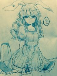 >:( 1girl ? animal_ears arms_behind_back bangs bloomers blush breasts bunny_ears closed_mouth collarbone commentary_request cowboy_shot crescent dress efukei eyebrows_visible_through_hair hair_between_eyes highres kine long_hair looking_at_viewer monochrome see-through seiran_(touhou) short_sleeves small_breasts solo speech_bubble spoken_question_mark stain star sweat touhou traditional_media underwear