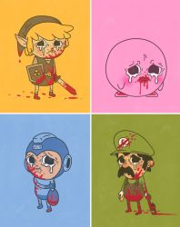 blonde_hair blood blood_on_body bloody_clothes capcom crying elf full_body hat kirby kirby_(series) link luigi male nintendo pointy_ears rockman rockman_(character) super_mario_bros. tears the_legend_of_zelda triforce video_game