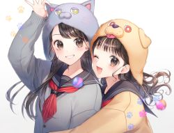 2girls ;d animal_ears animal_hat arm_up bangs black_sailor_collar blush brown_background brown_cardigan brown_eyes brown_hair brown_headwear cat_ears cat_hat commentary_request dog_ears dog_hat eyebrows_visible_through_hair fingernails gradient gradient_background grey_cardigan grin hat hug hug_from_behind long_hair momoshiki_tsubaki multiple_girls one_eye_closed open_mouth original red_neckwear revision sailor_collar school_uniform serafuku sleeves_past_wrists smile upper_body white_background