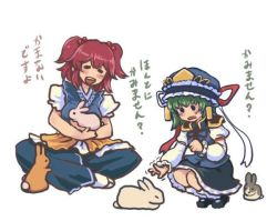 ._. 2girls :d =_= animal blush bow breasts bunny commentary_request dress green_hair happy hat hat_bow hat_ribbon holding holding_animal indian_style juliet_sleeves long_sleeves multiple_girls onozuka_komachi open_mouth puffy_sleeves red_hair ribbon shiki_eiki short_sleeves simple_background sitting skirt smile squatting terajin touhou translation_request trembling vest white_background