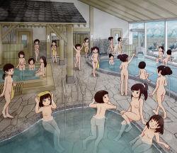 6+girls bathhouse black_hair breasts female indoors kiyo_(kyokyo1220) loli long_hair multiple_girls nipples nude original short_hair small_breasts tagme rating:Questionable score:51 user:sytalidis