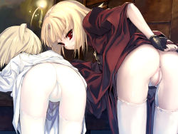 2girls anus ass bent_over blonde_hair candle cleft_of_venus dress dress_lift fingerless_gloves gloves highres hitomaru labia loli looking_back multiple_girls naughty_face nil-eve original pale_skin presenting pussy pussy_juice red_dress red_eyes short_hair take_your_pick thigh_gap thighhighs thighs third-party_edit uncensored white_dress white_legwear rating:Explicit score:271 user:rafamilk