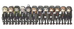 >:) 6+girls ahoge akatsuki_(kantai_collection) black_hair black_sailor_collar black_serafuku black_skirt blazer blonde_hair brown_eyes brown_hair commentary_request creator_connection crescent crescent_hair_ornament fang folded_ponytail fumizuki_(kantai_collection) goggles goggles_on_head green_eyes green_hair grey_eyes hair_ornament harukaze_unipo hatsushimo_(kantai_collection) headphones helmet hibiki_(kantai_collection) highres ikazuchi_(kantai_collection) inazuma_(kantai_collection) jacket kantai_collection kikuzuki_(kantai_collection) long_hair long_sleeves low_twintails machinery mikazuki_(kantai_collection) mochizuki_(kantai_collection) multiple_girls nagatsuki_(kantai_collection) neckerchief necktie pleated_skirt police ponytail purple_eyes purple_hair red_eyes red_neckerchief red_necktie rigging riot_shield rudder_shoes sailor_collar satsuki_(kantai_collection) school_uniform serafuku short_hair silver_hair simple_background skirt smile turret twintails wakaba_(kantai_collection) white_background white_hair white_necktie yellow_eyes