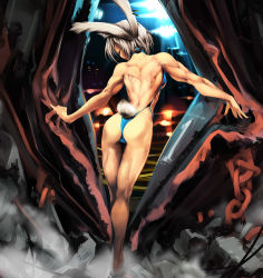 1girl alf874 animal_ears ass back bunny_ears bunny_tail chains crush crushing destruction from_behind highres kneepits leotard looking_back muscle solo tail thong_leotard white_hair rating:Questionable score:26 user:danbooru