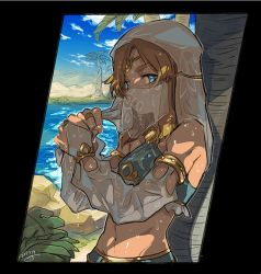 1boy against_tree blonde_hair blue_eyes crossdressing detached_sleeves gerudo_link kinako_(462) lake link looking_at_viewer midriff navel palm_tree see-through shade solo the_legend_of_zelda the_legend_of_zelda:_breath_of_the_wild trap tree veil water wet wet_clothes wet_hair