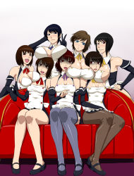6+girls bare_shoulders between_breasts black_hair blue_eyes blue_hair blush breast_envy breast_press breast_rest breasts brown_eyes brown_hair cleavage cleavage_cutout cosplay couch dream_c_club dream_c_club_(series) elbow_gloves fatal_frame gloves highres huge_breasts large_breasts ml multiple_girls open_mouth pantyhose red_eyes red_hair shoes short_hair sideboob sitting small_breasts smile thighhighs v waitress rating:Safe score:58 user:shuranok