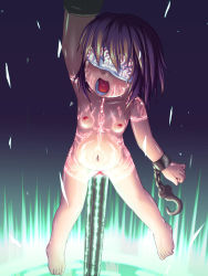 1girl barefoot blindfold breasts brown_hair censored chains feet flat_chest highres hook kaeru loli markings mosaic_censoring navel nipples nude open_mouth penetration pointless_censoring purple_hair pussy runes solo stomach_bulge toes vaginal_object_insertion rating:Explicit score:22 user:i_am_gundam
