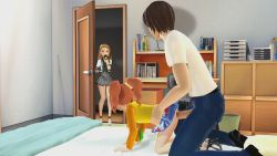 1boy 2girls 3d age_difference all_fours animated animated_gif bed bent_over clothed_sex doggystyle eye_contact from_side full_body hetero high_heels idolmaster indoors legs loli looking_at_another loop minase_iori multiple_girls no_panties on_bed penis ponchi sex skirt tagme takatsuki_yayoi torso_grab twintails uncensored vaginal walk-in rating:Explicit score:53 user:loliadicktion
