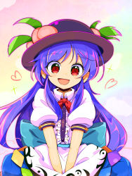 1girl black_headwear blouse blue_bow blue_hair blue_skirt bow buttons dress_shirt eyebrows_visible_through_hair food frills fruit gradient gradient_background harakune_(mugennero) hat hat_ornament heart highres hinanawi_tenshi leaf long_hair looking_at_viewer open_mouth peach puffy_short_sleeves puffy_sleeves red_bow red_eyes red_neckwear shirt short_sleeves sidelocks skirt smile solo sparkle touhou white_blouse white_shirt