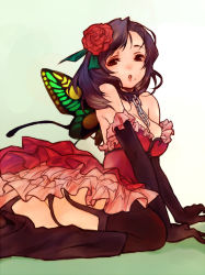 1girl bdsm black_hair black_legwear bondage boots bound butterfly_wings cave_(developer) chains collar deathsmiles dress elbow_gloves fairy flower garter_belt gloves leash mole panties rosa_(deathsmiles) slave solo thighhighs underwear wanko_(pixiv) wanko_(takohati8) wings rating:Safe score:24 user:danbooru