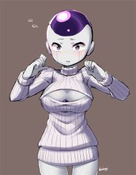 1girl blueberry_(5959) blush breasts cleavage cleavage_cutout dragon_ball dragonball_z female frieza genderswap genderswap_(mtf) large_breasts long_sleeves looking_at_viewer meme_attire open-chest_sweater open_mouth purple_eyes ribbed_sweater simple_background solo sweater turtleneck rating:Safe score:44 user:danbooru