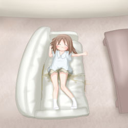 1girl bedwetting big_shirt blush brown_hair brown_shorts couch loli lowres peeing peeing_self shirt short_hair shorts sleeping socks solo source_request white_legwear white_shirt rating:Questionable score:20 user:PinkHairedSinger