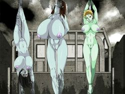 3girls all_the_way_through animated animated_gif arms_behind_back black_hair blonde_hair blue_skin bouncing_breasts bound bound_ankles bound_wrists breasts brown_hair dead_sea dendendo green_skin guro huge_breasts impaled large_breasts long_hair multiple_girls nipples no_pupils nude object_insertion open_mouth outdoors pubic_hair public_nudity pussy red_eyes short_hair upside-down vaginal vaginal_object_insertion vehicle zombie zombie_girl rating:Explicit score:39 user:master333