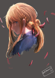 1girl absurdres blonde_hair blue_eyes blue_jacket braid closed_mouth commentary english_commentary falling_petals grey_background hair_between_eyes hair_intakes hair_ribbon highres jacket long_hair looking_to_the_side matokunewa red_ribbon ribbon sidelocks violet_evergarden violet_evergarden_(character)