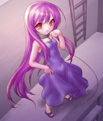 1girl 47agdragon collar dress ladder leash long_hair original pink_hair purple purple_dress purple_hair red_eyes sandals rating:Safe score:1 user:danbooru